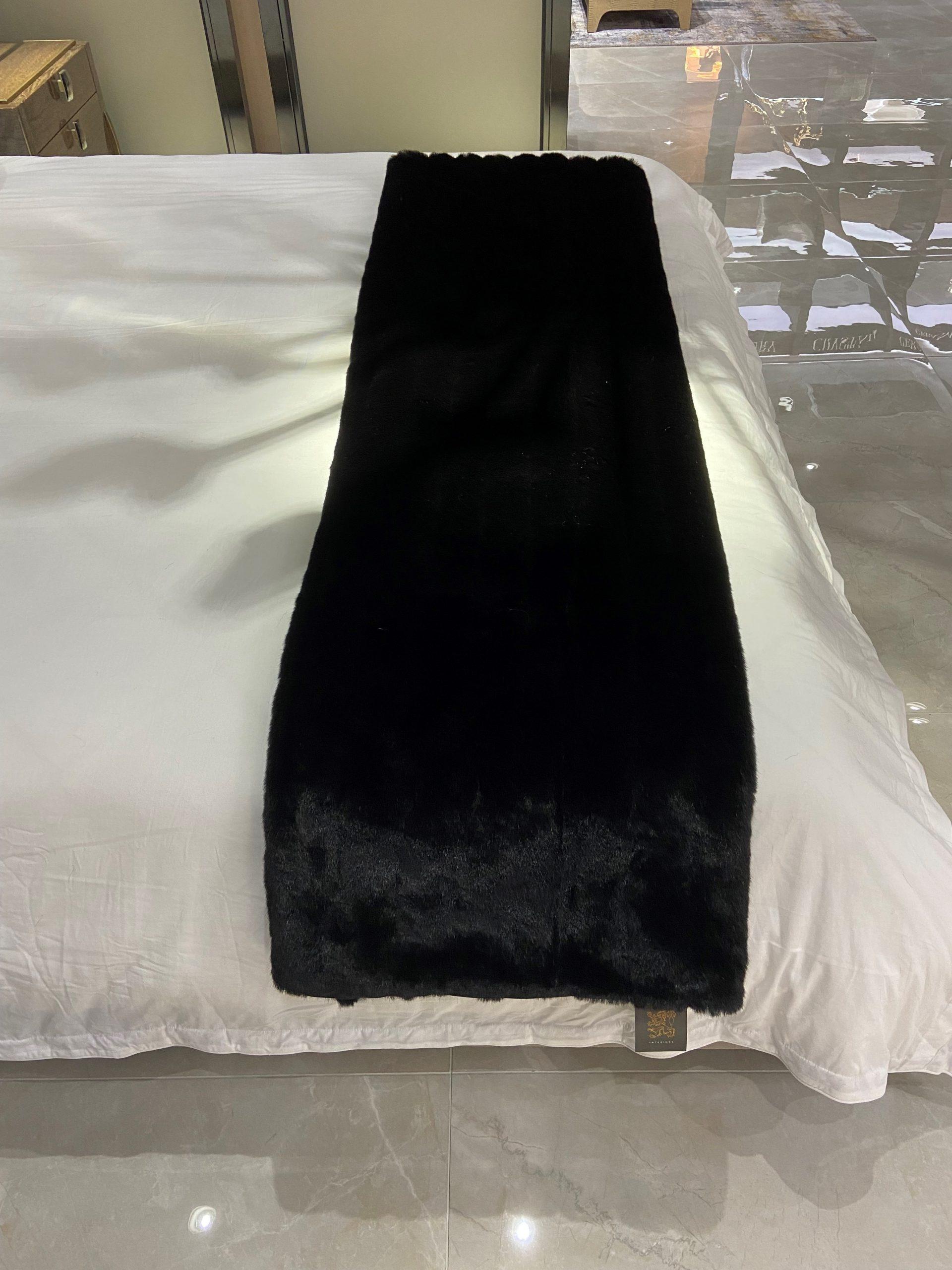 Faux Fur Throw – BLACK